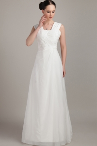 Floor-length Chiffon Ruch prom Dress White Empire Straps