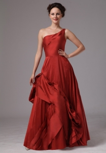 One Shoulder Wine Red Custom Made Taffeta Prom Dress