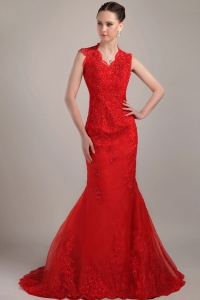 Wonderful Red Mermaid Lace Prom Dress V-neck Brush