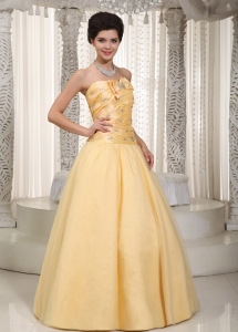 Beading Bow Prom / Evening Dress Yellow A-line Tulle
