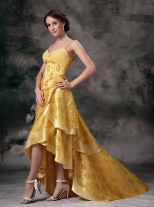 Yellow Taffeta Lace Prom / Evening Dress Straps Brush Train