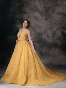 Yellow V-neck Brush Prom / Evening Dress Organza Beading