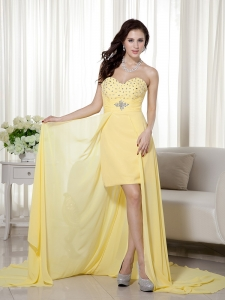 High-low Sweetheart Chiffon Beading Yellow Prom / Evening Dress
