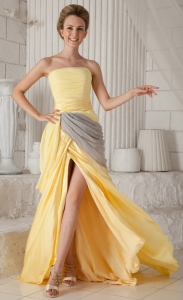 Yellow Strapless Brush Train Ruch Prom / Celebrity Dress