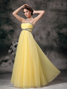Empire Yellow Prom / Evening Dress Tulle Beading