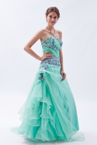 Organza Embroidery Prom Dress Beading Apple Green