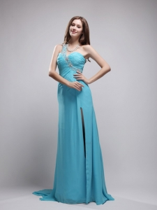 Column One Shoulder Ruch Prom Dress Aqua Blue Beading