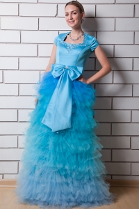 Square Organza Aqua Blue Prom Dress Taffeta Beading