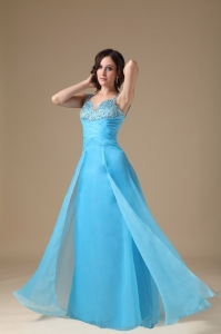 Beading Ruch Prom Dress Aqua Blue Column Straps Chiffon