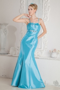 Straps Brush Train Aqua Blue Mermaid Prom Dress Beading
