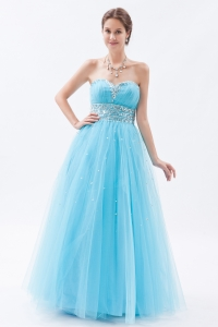 Baby Blue Prom Dress Tulle Beading Sweetheart A-line