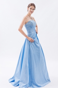 Taffeta Appliques Baby Blue Prom Dress Sheath Strapless