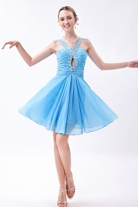 Mini-length Beading Prom Dress Baby Blue Empire V-neck