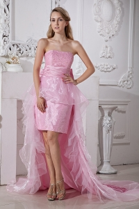 High-low Baby Pink Prom / Homecoming Dress Organza Beading