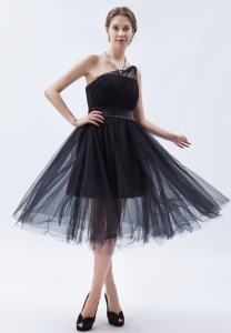 Black One Shoulder Tea-length Tulle Prom Dress for Party
