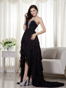 A-line Sweetheart Black High-low Prom Dress Beading