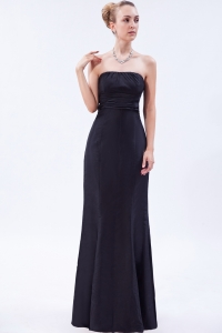 Floor-length Satin Ruch Prom Dress Black Strapless