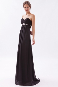 Brush Beading Prom Dress Black Sweetheart Chiffon