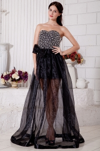 Beading Prom / Evening Dress Black Empire Organza