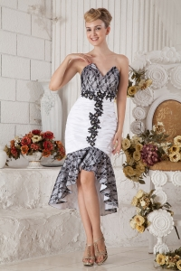 Black and White Mermaid Prom Dress Tea-length Beading