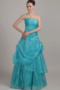 Appliques Beading Teal Prom Dress Floor-length Organza