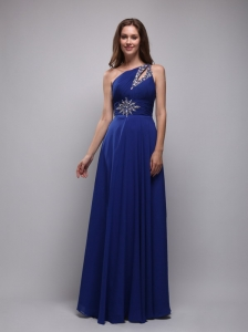 Empire One Shoulder Blue Chiffon Beading Prom Dress