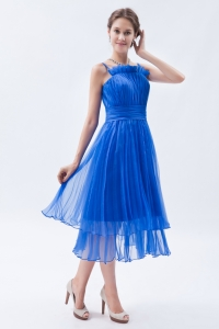 Tea-length Organza Ruch Prom Dress Blue Empire Straps