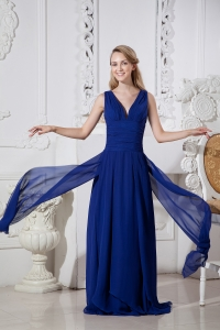 Brush Chiffon Prom / Evening Dress Blue Empire V-neck