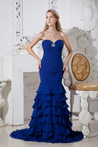 Blue Mermaid Brush Prom Dress Sweetheart Beading Ruffles