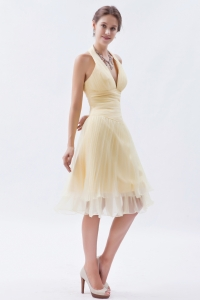 Knee-length Halter Champagne Prom Dress Organza Ruch