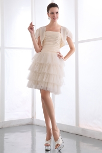 Ruffled Layers Prom Dress Champagne Mini-length Ruch