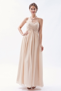 Champagne Sweetheart Long Chiffon Prom Dress Ruch