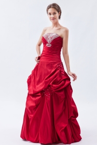 Coral Red Sequins Prom Dress Sheath Strapless Taffeta