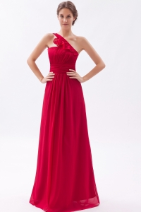 One Shoulder Coral Red Chiffon Ruch Prom Dress
