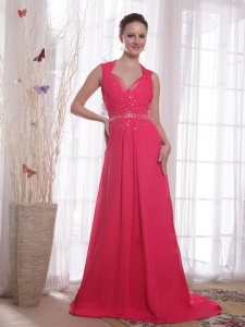 Sweep Beading Coral Red Chiffon Prom / Party Dress V-neck