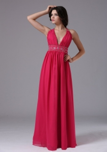 2013 Coral Red Halter Prom Dress Beaded Pleates