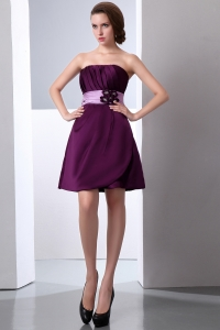 Hand Made Flower Ruch Prom Dress Dark Purple Mini-length