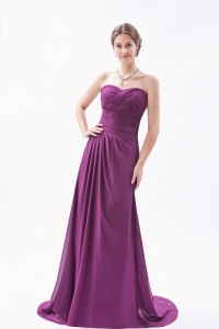 Chiffon Ruch Prom Dress Dark Purple Sweetheart Brush