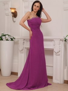 Beading Fuchsia Prom / Pageant Dress One Shoulder Brush