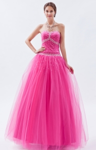 Tulle Beading Prom Dress Hot Pink A-line Sweetheart