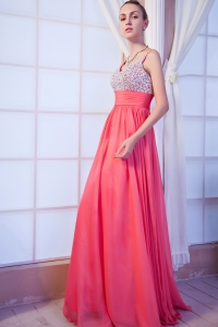 Beaded Prom Dress Hot Pink Straps Brush Chiffon