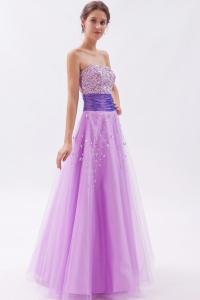 Lavender Tulle Beading Prom Dress Princess Strapless