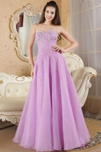 Beading Prom / Evening Dress Lavender Sweetheart Organza