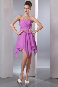 Asymmetrical Chiffon Prom Dress Lavender Bow Empire