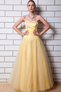 Taffeta Ruch Prom Dress Light Yellow A-line Sweetheart