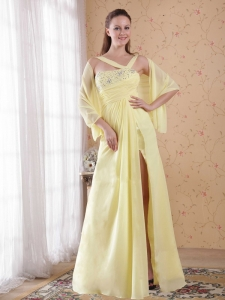 Asymmetrical Prom / Evening Dress Beading Light Yellow