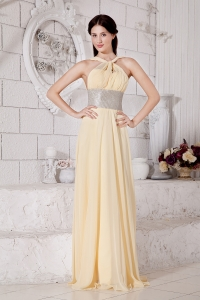 Brush Train Prom / Evening Dress Light Yellow Empire