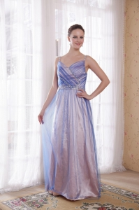 Lilac Beading Prom Dress Empire Straps Tulle Taffeta