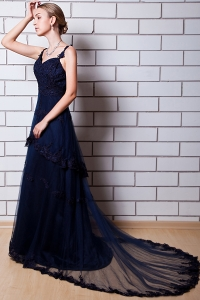 Chapel Train Appliques Prom Dress Navy Blue Tulle