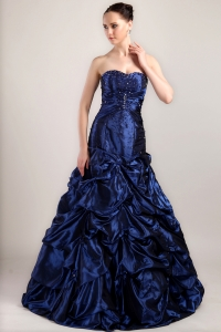 Navy Blue Prom Dress Sweetheart Pick-ups Brush Taffeta